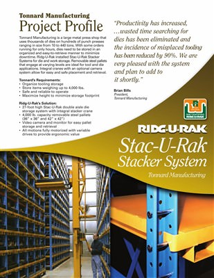 Stacker System at Tonnard Tool & Die